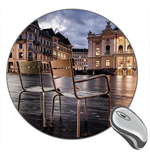 Not Applicable Las sillas de Zurich Suiza encienden Edificios de la Ciudad Alfombrilla de ratón Redonda, Alfombrillas de ratón para Juegos Personalizadas