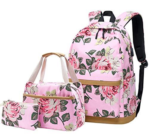 Schulrucksack Mädchen Teenager Damen Schultasche Canvas Schulranzen Set Blumen Rucksack für Mädchen Schule Freizeit mit Lunchpaket Tasche und Mäppchen (3 in 1 Pink)