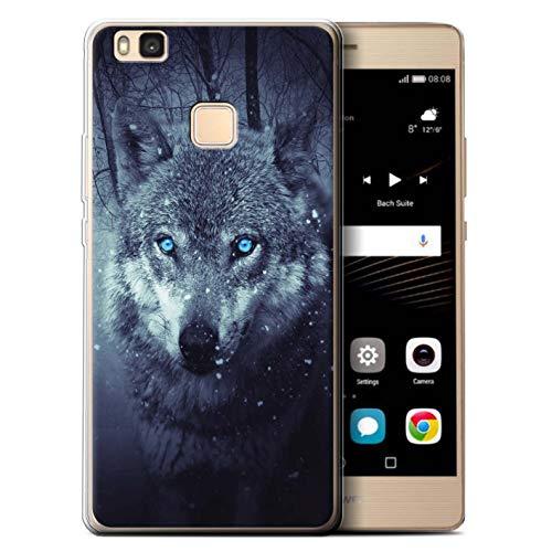 eSwish Gel TPU Hülle/Case für Huawei P9 Lite (2016) / Blaue Augen Fantasie Muster/Wildes Tier Raubtier Wolf Kollektion