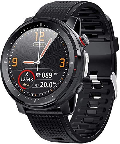 Reloj Inteligente Hombres 1.3 'Full-Fit Ronda Pantalla Retina Control Música Cámara Linterna Reloj Inteligente Ip68 Impermeable-Negro