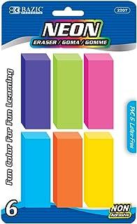 BAZIC Neon Bevel Eraser, Latex Free, Large Size Bulk Block Erasers for Art School Office Kids Teachers, Assorted Colors No...