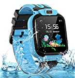 Kids Smart Watch for Boys Girls, IP67 Waterproof Smart Watch for Kids w GPS Tracker, HD Touch Screen Call Voice Chat Camera Cell Phone Watches for Children 3-14 Ages(Blue)