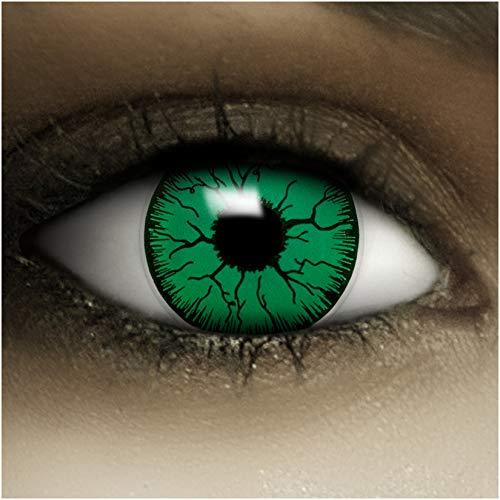 Farbige Kontaktlinsen ohne Stärke Monster + Kunstblut Kapseln + Kontaktlinsenbehälter, weich ohne Sehstaerke in schwarz und gelb, 1 Paar Linsen (2 Stück)