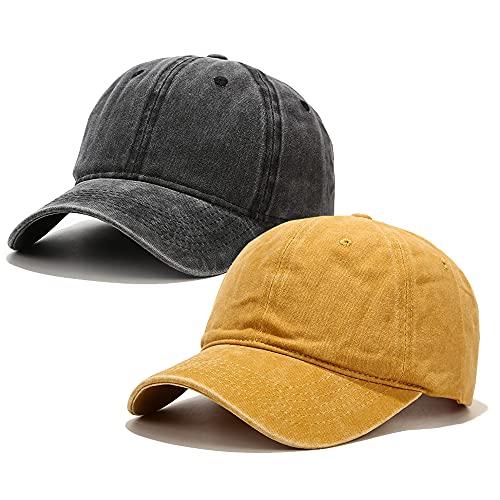 Voilipex Gorra de béisbol de algodón, 2 piezas, ajustable, para mujeres y hombres, vintage, de perfil bajo, no estructurado, sombrero...