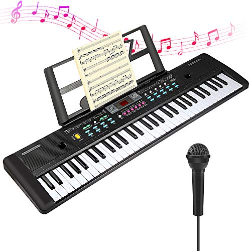 CHUYANG 61 Keys Keyboard Piano, Electronic Digital Piano with Built-In Speaker, Microphone, Sheet Stand and Power Supply, Portable Keyboard Gift Teaching Toy for Beginners