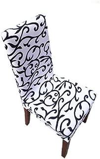 Elastic Dining Chair Slipcover Stretch Removable Washable Dining Chair Protective Covers Protector Spandex for Home Hotel Restaurant Wedding Part Decor Black White