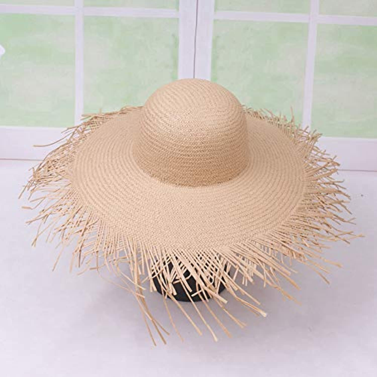 Straw Hat Female Spring and Summer Loose Fashion Straw Hat Female Beach Holiday Big Hat Straw Hat Travel Lady Hat UPF 50