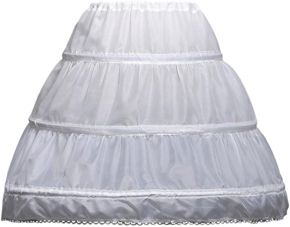 LULUSILK Kids Crinoline Petticoat with 3 Hoops, Full Length Flower Girl Underskirt Slips