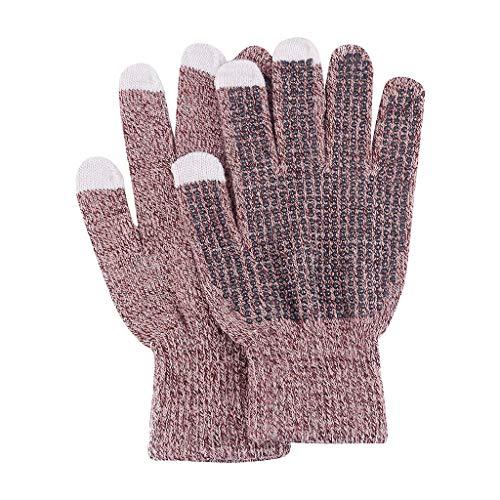 Strickhandschuhe, wärmend, Kaschmir-Handschuhe, Stretch, Winter, Damen, Touchscreen-Handschuhe für Damen und Herren, dicke Strickhandschuhe, einfarbig Gr. B, braun