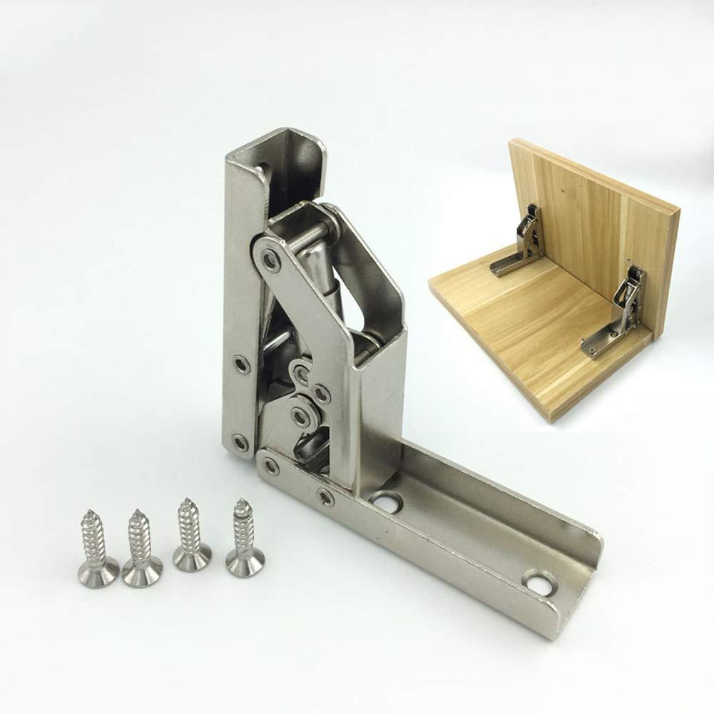 La puerta plegable de 90 grados / la bisagra del estante colgó las piezas de los muebles del tenedor de la tabla del soporte: Amazon.es: Bricolaje y herramientas