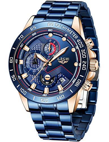 LIGE Herren Uhren Männer Mode Sport Wasserdicht Chronograph Edelstahl Blau Elegant Armbanduhr Lässige Herrenuhr Kalender Datum Business Analog Quarz Uhr Mann Gents Kleid
