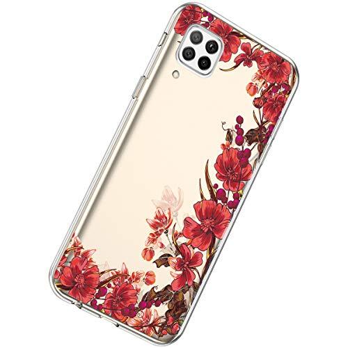 Herbests Kompatibel mit Huawei P40 Lite Hülle Dünne Transparent TPU Schutzhülle Crystal Clear Silikon Stoßfest Hülle Durchsichtig Handyhülle mit Süße Niedlich Muster,Retro rote blumen
