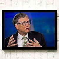ポスター アートポスター Bill Gates (10) A3 映画額縁のある絵 木製の枠 モダン 42cm x 30cm フレーム ブラック