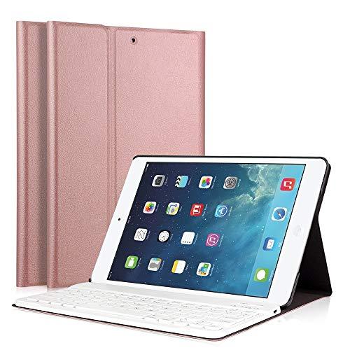 Funda para teclado de iPad, LUCKYDIY, ultradelgada, funda para soporte + teclado Bluetooth inalámbrico desmontable magnético para Apple iPad. RoseGold iPad Air1/Air2