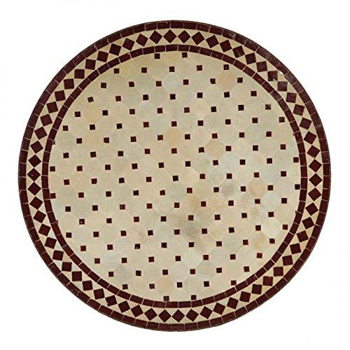 Casa Moro Mediterraner Gartentisch Mosaiktisch Ø 80 cm rund Bordeaux terrakotta mit Gestell H 73 cm Kunsthandwerk aus Marokko | Dekorativer Balkontisch Bistrotisch Esstisch MT2092