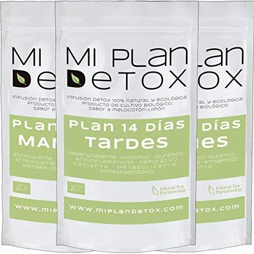 MI PLAN DETOX 14 días diurético· Té detox · Infusiones BIO depurativas · Té verde detox · Único plan 3 infusiones diarias orgánicas · Pack de 126 Grs.
