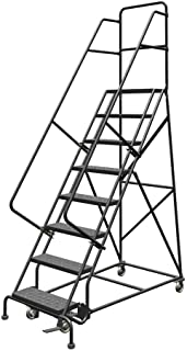 """Tri-Arc KDSR108246 8-Step Steel Rolling Industrial and Warehouse Ladder with Handrails and 24"""" Wide Perforated Tread"""