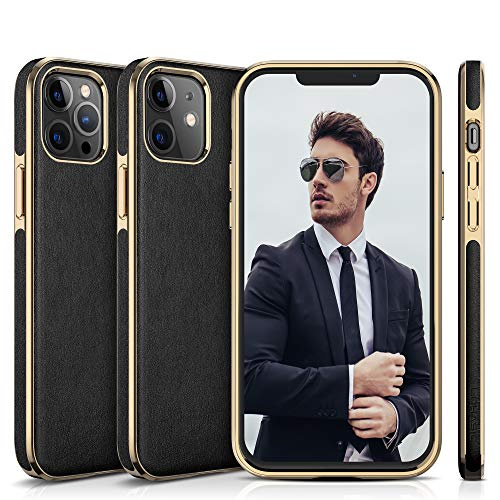 LOHASIC for iPhone 12 Case, for iPhone 12 Pro Cover, Soft PU Leather Classic Business Thin Anti Scratch Non-Slip Protective Phone Cases Compatible with iPhone 12/12 Pro(2020) 6.1' - Black