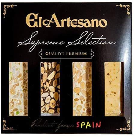 Pack de 4 Tabletas 70grs. El Artesano | Incluye: 1x Turrón de Jijona Artesano, 1x Turrón de Alicante Artesano, 1x Turrón de guirlache Artesano, 1x Turrón imperial de frutos secos