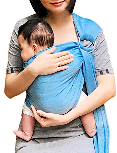Vlokup Baby Water Ring Sling Carrier | Lightweight Breathable Mesh Baby Wrap for Infant, Newborn, Kids and Toddlers | Perfect for Summer, Swimming, Pool, Beach | Great for Dad Too Lakeblue