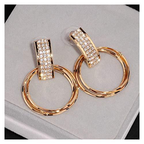 Multa Nuevos Pendientes de diseño Simple Pendientes de Cristal de Oro Aro de Metal Grande Pendientes Colgantes Regalos de Mujer para Mujeres niñas (Metal Color : Gold Color)