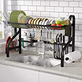 Dish Drying Rack Over The Sink - 1Easylife Upgraded Adjustable Large Dish Rack 2-Tier Drainer for Kitchen Organization Storage Space Saver Shelf Holder with 7 Utility Hooks dishracks Above Sink Black
