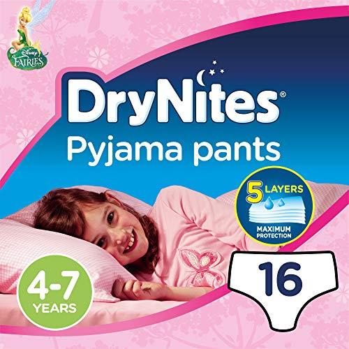- Sous-v/êtements de Nuit Absorbants pour Enfants qui font Pipi au Lit Huggies Drynites 4-7 ans Fille Lot de 2 Paquets de 16 x32 Culottes 17-30kg