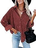 Camisa Elegante para Mujer Camisas Particulares Camisas de Manga Larga Botones Anchos de Metal Top de Pana de Gran Tamaño Novio Casual Color sólido Otoño (Vino Tinto, XL)
