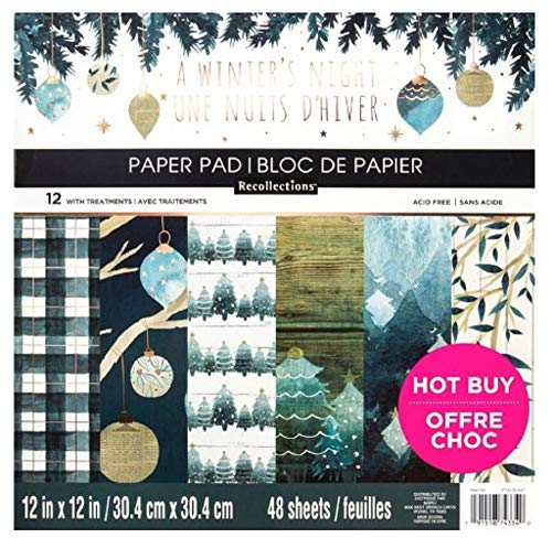 Recollections A Winter's Night Christmas Holiday Scrapbook Paper Pad 48 Sheets, 12 X 12