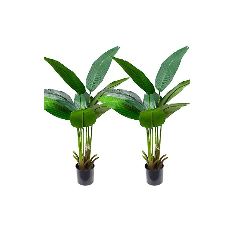 silk flower arrangements momoplant artificial bird of paradise plant 4ft fake banana trees set of 2 faux tropical palm tree indoor outdoor home office decor(47 inch)