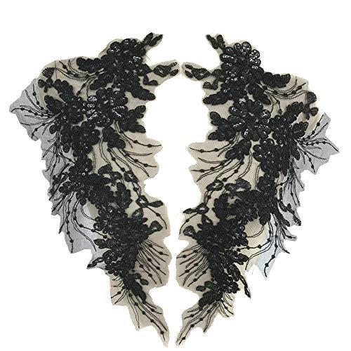 1Pair 42X23cm Delicate Wedding Sequins Head Ornaments Body Lace Applique Ivory Dress DIY Lace Trim Dress DIY Lace (Black)