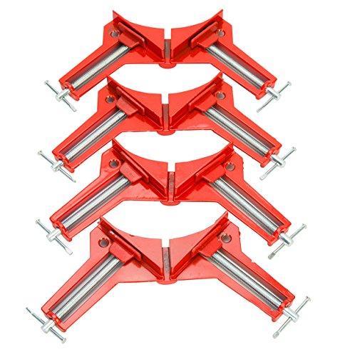 FreeTec 4pcs Pince à Angle Droit de 90 Degrés, Travail du Bois Bricolage Outils à Main Serre-joints d'angle HSM 75 mm