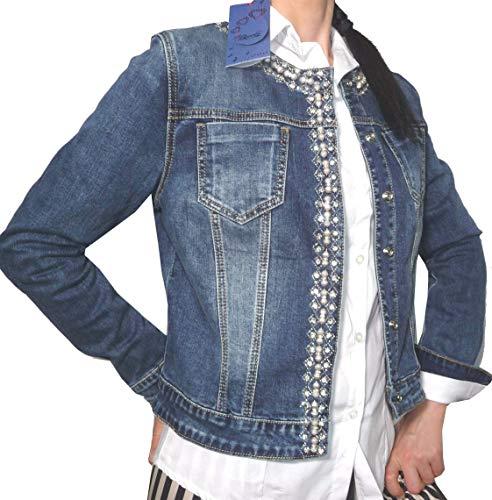 Giacca Giacchetto Bolerò Soprabito Jeans Corto Strass Brillantini Collo Tondo Casual Chiusura Bottoni Automatici (44 IT Donna Slim, Jeans)