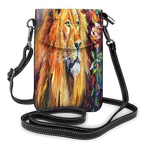 AOOEDM Monedero para teléfono celular o pasaporte con bandolera de aceite con cuchillo de paleta de león para mujer