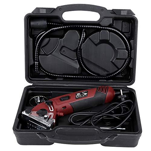 lyrlody 400W Sierra Circular Eléctrica Mini con 3 Hojas, Profundidad de Corte 0-12 mm para Cortar Azulejos, Plástico, Madera, Metal Blando(220V)