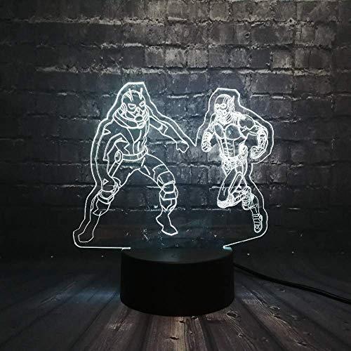 Lampa z iluzją 3D lampka nocna dla dzieci bohater narożny stół biurko dekoracja do sypialni dekoracja stołu świąteczny prezent świąteczny dla dzieci / chłopców/mężczyzn/z ładowaniem USB, zmiana kolorów