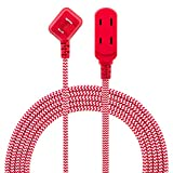 Philips 3 Outlet Extension Cord, 8 Ft Long Cord, Designer Braided Extension Cord, Polarized Outlets, Flat Plug, Perfect for Holiday Lights & Décor in The Home or Office, Red/White, SPC1030RB/27