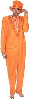 Adult Orange Tuxedo One Piece Pajama with Top Hat