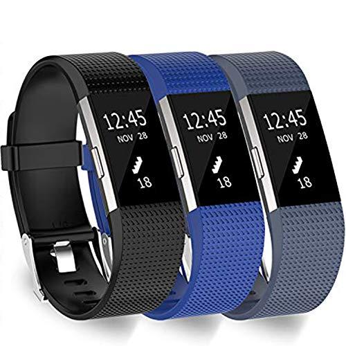 KingAcc Armband Kompatibel mit Fitbit Charge 2, Weiche Silikon Armband ersatzbar für Fitbit Charge 2, Fitness-Sport-Armband mit Metallschnalle für Damen und Herren