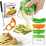 FabQuality Premium 2 cuchillas Mano cuchilla en espiral para las verduras Espagueti,contiene con la patata y el cepillo para la limpieza - calabacín pepino FabQuality Schneider pepino pelador