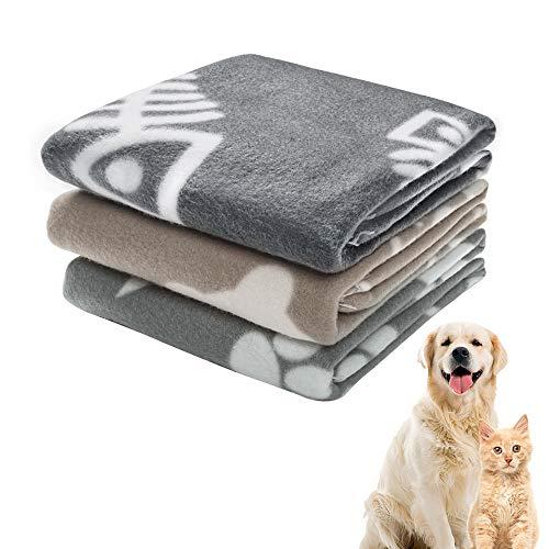 softan Coperta per Cani Gatto, Coperta Calda in Morbido Pile per Gatti, Animale Domestico Medio,3 Pezzi, Cachi Grigio,70x100cm