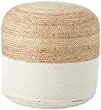 Signature Design by Ashley, Sweed Valley Pouf, Comfortable Pouf & Ottoman, Casual, Natural/White