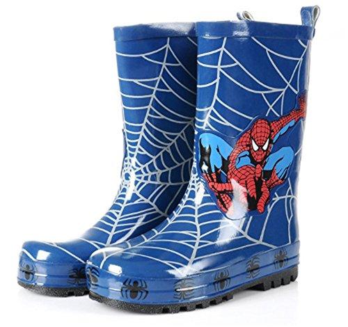 ALEADER Kids Waterproof Rubber Rain Boots for Girls, Boys & Toddlers with Fun Prints & Handles Black/Blue 5 M US Big Kid