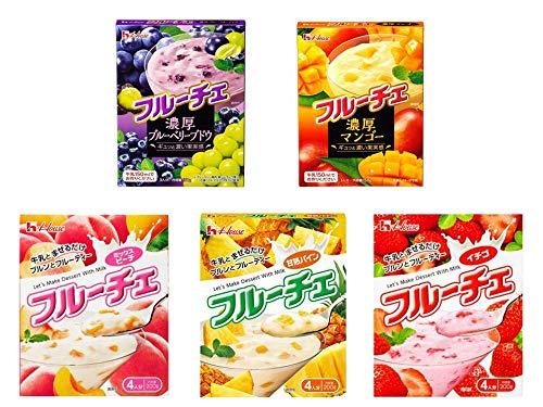 【まとめ買い】ハウス食品 フルーチェ5種 濃厚ブルーベリーブドウ/濃厚マンゴー/甘熟パイン/ミックスピーチ/イチゴ