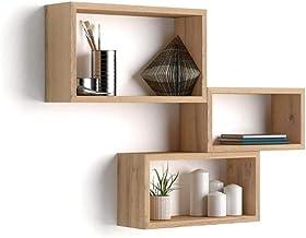 Mobili Fiver, Set de 3 esatantes de Pared rectangulares, Modelo Giuditta, Color Madera Rustica, Aglomerado y Melamina, Made in Italy
