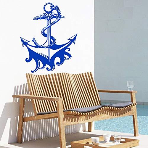 YuanMinglu Cooler Anker Wandaufkleber Kreuzfahrt abnehmbare dekorative Applikation dunkelblau 58 cm x 70 cm