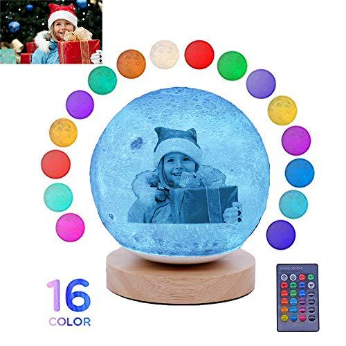 """Personalisierung-Gravur Foto Moonlight Weihnachtsideen Jubiläumsgeschenk-16 Color Touch 3D-Druck Nachtlicht mit Halterung 7.8\"""""""