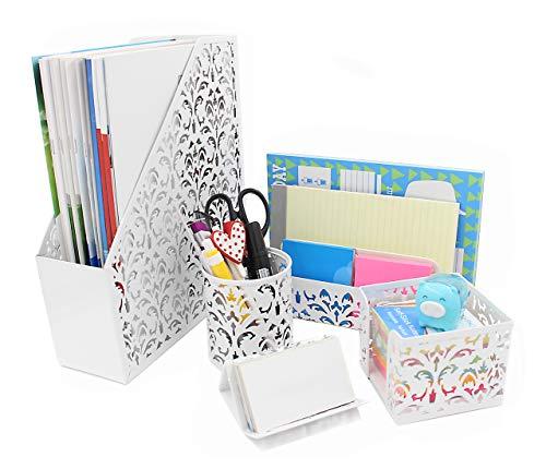 Geniric - Organizador de escritorio 5 en 1, soporte para archivos, clasificador de cartas, soporte para bolígrafos, para tarjetas de visita y para billetes, color blanco
