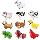 SOTOGO 10 Pieces Walking Animal Balloons Farm Animal Balloon Birthday...
