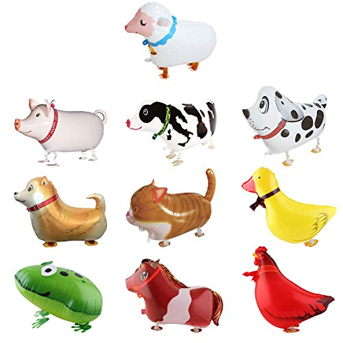 SOTOGO 10 Pieces Walking Animal Balloons Farm Animal Balloon Birthday Party BBQ Party Décor(Pony Duck Rooster Cow Pig Sheep Spotted Dog Sheepdog Frog Cat)